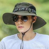 帽子男夏天漁夫帽戶外防曬遮陽帽太陽帽韓版男士沙灘釣魚帽-Ifashion