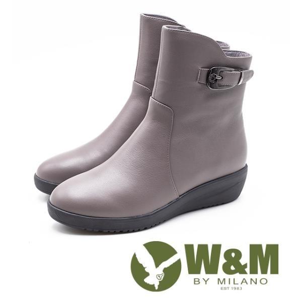 【南紡購物中心】W&M 素面釦飾 拉鍊坡跟短靴 女鞋 - 藕灰 (另有 黑)