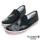 懶人鞋PLAYBOY  條紋兔頭 編織-黑