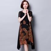 新品新款韓式女裝加大尺碼胖MM顯瘦短袖寬鬆遮肚印花雪紡洋裝(L-5XL)5色