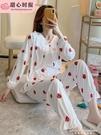 可愛睡衣女春秋季薄款長袖純棉寬鬆家居服兩件套裝夏公主風草莓 黛尼時尚精品