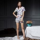 條紋短袖上衣+短褲(兩件套)-時尚花朵印花精選女褲裝73lk47【巴黎精品】