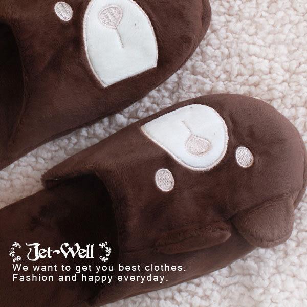 室內拖鞋 卡娃伊小熊情侶款室內保暖拖鞋 F0012 現貨 JET-WELL