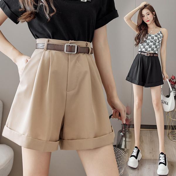 VK旗艦店 韓國風名媛休閒捲邊寬口配腰帶寬鬆單品短褲