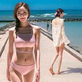 泳衣正韓網紅同款性感罩衫系綁帶復古比基尼三件套泳衣女全館八折 限時三天!