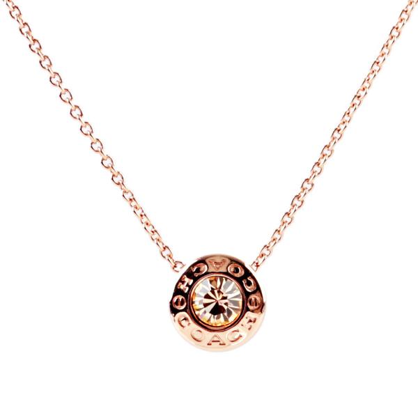 【COACH】圓形水鑽項鍊(玫瑰金) F54514 RGD