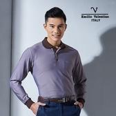 Emilio Valentino范倫鐵諾優雅品味直條紋POLO衫 (咖啡)