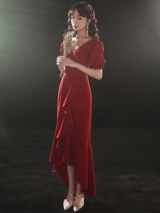 魚尾敬酒服新娘春秋酒紅色訂婚小晚禮服裙平時可穿回門結婚女秋季長洋裝禮服2021新款