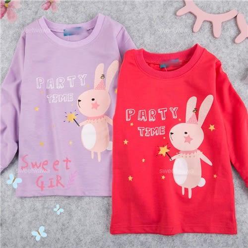 PARTY跳舞兔棉質長袖上衣-2色-紫色追加到貨(280179)★水娃娃時尚童裝★