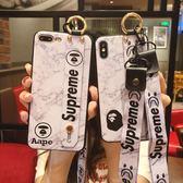 IPhone 8 Plus 全包手機套 簡約手機殼 腕帶支架保護殼 帶掛脖繩 情侶款 防摔保護套 矽膠軟殼