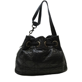 Dior 迪奧 黑色藤格紋羊皮Cannage縫線古銅D釦肩背包 Drawstring Bucket Bag BRAND OFF