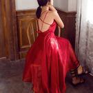 VK精品服飾 韓國復古露背性感純色度假沙灘裙無袖洋裝