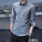 長袖襯衫男士秋季純棉青年短袖寸休閒修身韓版七分袖夏季潮流襯衣 電購3C