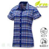 維特FIT 女款小蓋袖前襟配色格紋襯衫 IS2202 寶藍色 排汗襯衫 格紋襯衫 防曬襯衫 OUTDOOR NICE