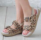 MODO帥氣扣帶/特殊豹紋/高質感-THE ONE- 手工氣墊鞋(全牛皮)-G51411 米