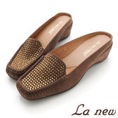 【La new outlet】點鑽牛皮涼拖鞋 (女219080500)