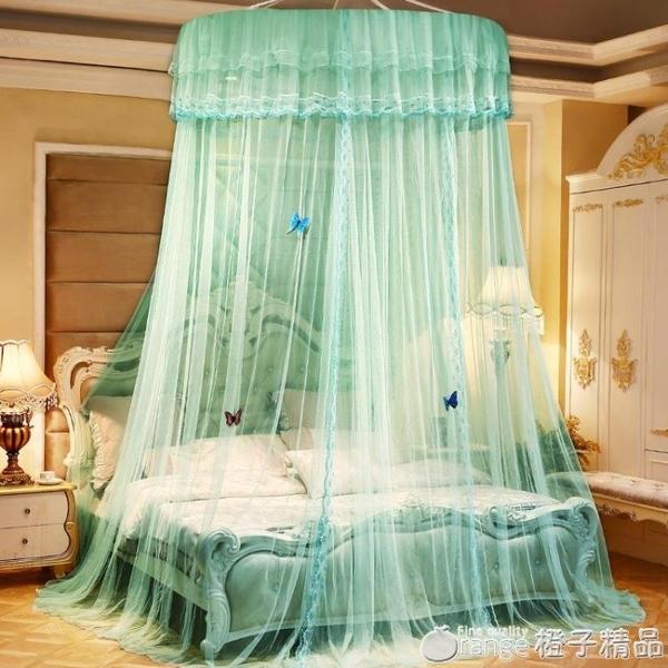 圓頂蚊帳吊頂1.8米1.5M紋賬家用夏季公主單人床上1加密1.2免安裝2 (橙子精品)