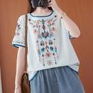 刺繡棉麻短袖T恤女2021夏季新款民族風復古文藝寬松大碼亞麻上衣
