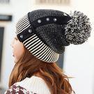 [現貨] 鈕扣毛球雙色拼接加厚保暖毛線帽