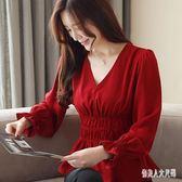 雪紡襯衫V領紅色女春季收腰打底衫顯瘦心機百搭上衣 FR5538『俏美人大尺碼』