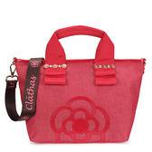 CLATHAS 山茶花裝飾丹寧織布兩用小托特包(紅色)201051-30