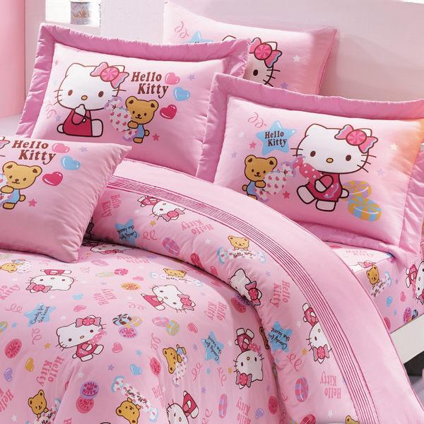 【鴻宇HONGYEW】美國棉/台灣製/日本抗菌/Hello Kitty我的甜蜜夥伴系列-單人薄被套/HK2003/2色