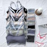 (交換禮物)睡眠文胸套裝性感螺紋小姐運動內衣X型交叉美背吊帶抹胸兩件套女 雙12鉅惠