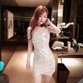 洋裝小禮服氣質閃亮月光裙子夜店性感低胸V領顯瘦短款吊帶洋裝