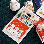 【BlueCat】聖誕節紅底白雪花三雪人排排站手提袋 塑膠袋 手提包裝袋(1入)