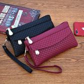 新款女錢包韓版百搭手拿包潮爆簡約手機包氣質格紋零錢包小包  范思蓮恩