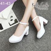 大尺碼女鞋-凱莉密碼-完美圓楦瑪莉珍吊飾好穿防水台粗跟高跟鞋6cm(41-43)【YN707】白色