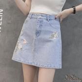 牛仔裙 女2020夏季新款個性繡花刺繡高腰半身裙a字裙韓版包臀短裙 JX1500『Bad boy時尚』