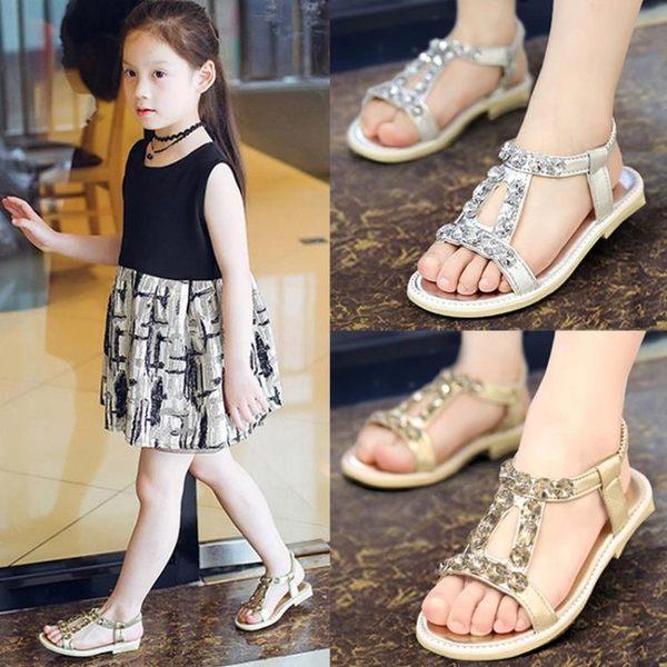 兒童女涼鞋新款正韓小女孩兒童平底公主鞋【情人節禮物限時八折】