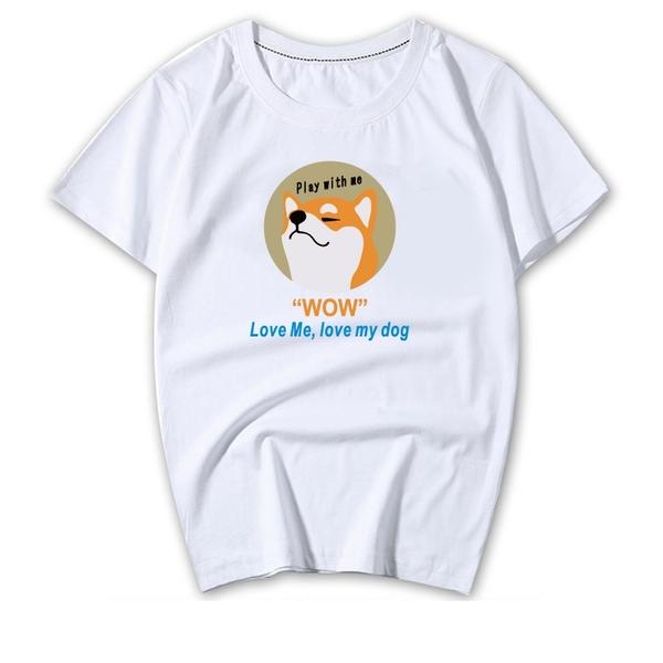 """情侶裝24小時快速出貨 MIT台灣製【Y0898-15】短袖-""""WOW"""" LOVE ME. LOVE MY DOG 柴犬"""
