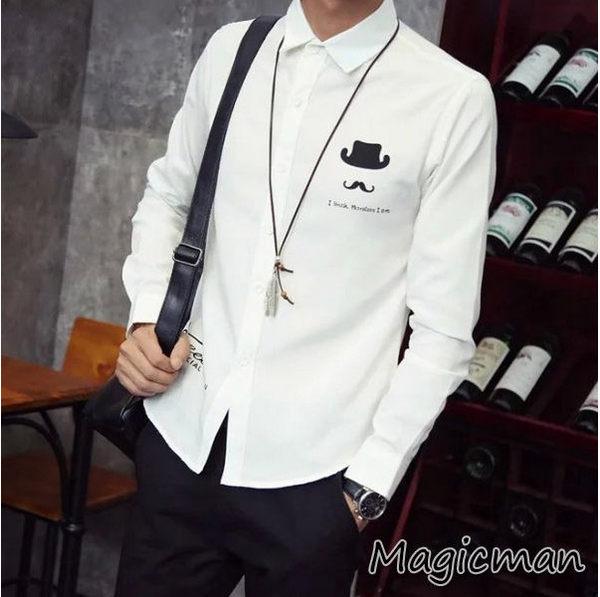 韓版男士鬍子长袖印花襯衫(X051)★Magic Man★現貨