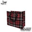 手提袋-編織袋(L)-蘇格蘭紅-01H