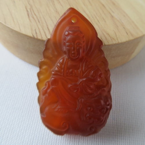 天然紅玉髓文殊菩薩項鍊#1796