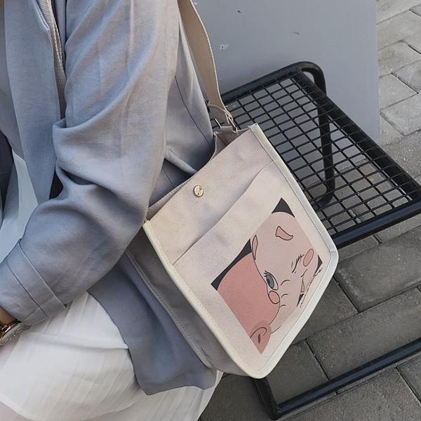 夏季帆布包 女包 2020新款潮韓版百搭斜挎包 ins單肩日系少女小布包