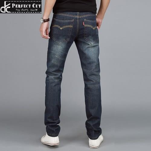 潮流款精緻車線休閒牛仔褲(深色雙車線)《P3087 》