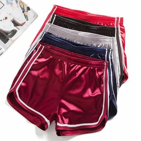 夏季新品跑步運動短褲女高腰光面闊腿褲修身顯瘦熱褲家居百搭睡褲 伊蘿 618狂歡