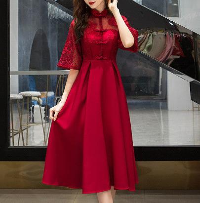 (45 Design) 洋裝禮服婚禮洋裝伴娘禮服洋裝小禮服中長禮服小洋裝蕾絲洋裝媽媽禮服7