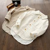 棉麻兒童長袖襯衫2018新款寶寶上衣