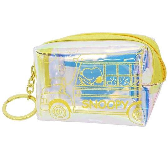 〔小禮堂〕史努比 方形鐳射光防水零錢包《黃.開巴士》收納包.掛飾 4522654-06702