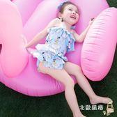 快速出貨-兒童泳衣新品兒童連身泳衣泳帽小寶寶女孩幼兒可愛公主裙式多層荷葉