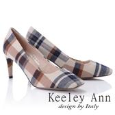 ★2018秋冬★Keeley Ann簡約美感~英倫格紋方頭高跟鞋(米色) -Ann系列