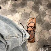 夾腳涼鞋韓國夏時尚交叉綁帶網紅涼鞋女波西米亞平底夾腳沙灘羅馬涼鞋 海角七號