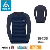 【速捷戶外】瑞士ODLO 10459 warm 兒童機能銀纖維長效保暖底層衣 (海軍藍/能量藍條紋),保暖衣