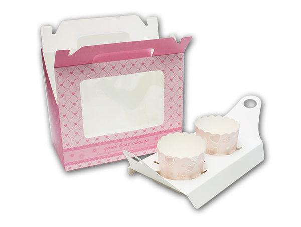 2格紫色 透明開窗手提盒 杯子蛋糕盒【C077】