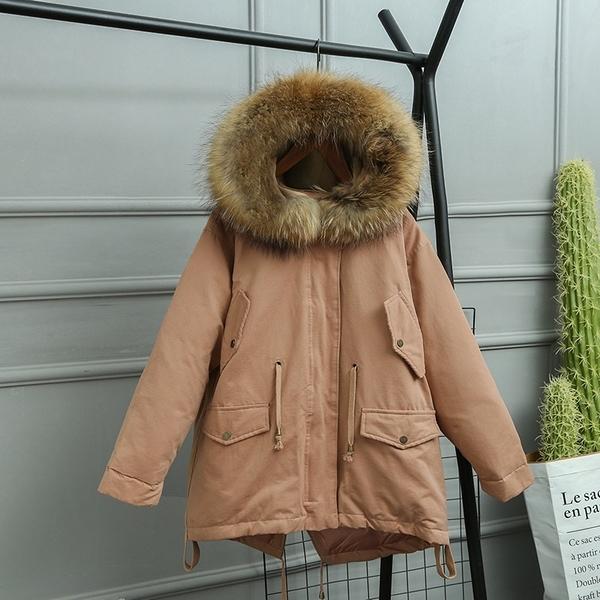 羽絨夾克-貉子毛領短版寬鬆抽繩女連帽外套4色73wc27【巴黎精品】