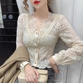 蕾絲上衣 打底衫女秋季新品修身內搭氣質鉤花鏤空蕾絲V領長袖雪紡上衣【快速出貨】